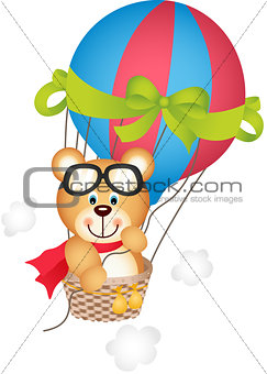 Hot air balloon with teddy bear