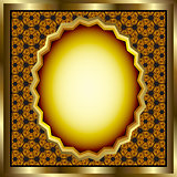 Floral Gold Frame With Geometrical Background