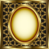 Floral Gold Frame With Patterned Background