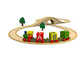 Wooden toy train carrying alphabet letters