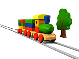 Wooden toy train on rails