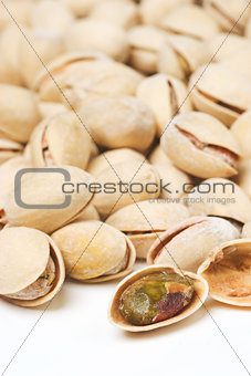 Background of many ripe pistachios