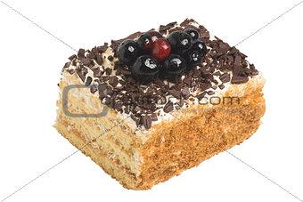 Cake with white cream and chocolate