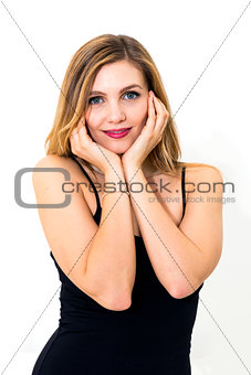 woman beautiful cheerful