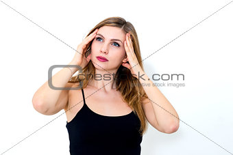 beautiful young woman with migraine