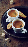 Two cups of espresso with cantuccini