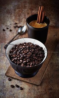 Bowl of dark espresso coffee beans