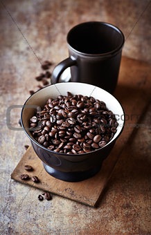 Bowl of dark espresso coffee beans