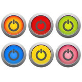 Set of on and off buttons