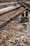 Railway line with red light alert