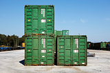 Containers on a railway platform