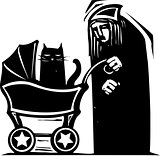 Cat Lady with Baby Carriage