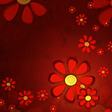 red flowers over old paper background