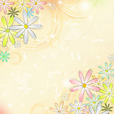 spring flowers over beige old paper background with circles