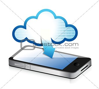 phone with cloud computing symbol on a screen