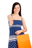 Beautiful woman holding shopping bag