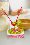 Closeup on woman putting fresh vegetable salad into plate