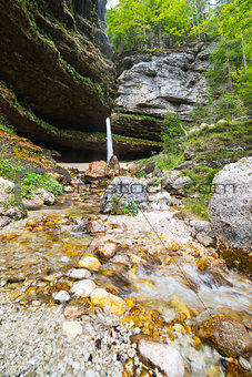 Waterfall in Julian Alps in Slovenia