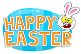 Happy Easter text with Easter bunny head smiling against a blue Easter egg