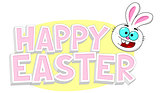 Happy Easter text with Easter bunny head smiling
