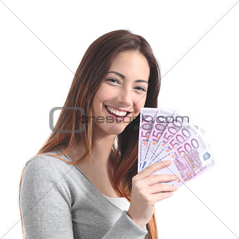 Teen holding a lot of five hundred euro banknotes
