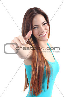 Beautiful happy teenager with thumb up