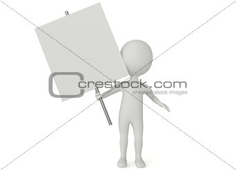 3d humanoid character hold a blank board