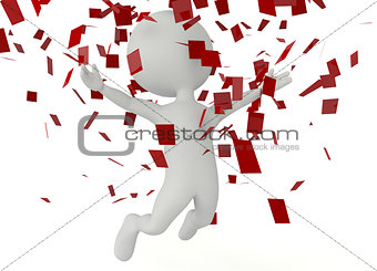 3d humanoid character jumping in the air