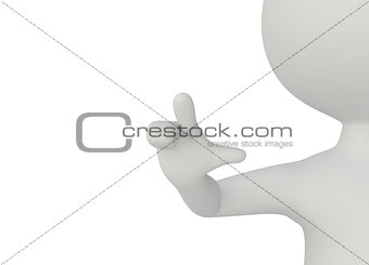 3d humanoid character pressed with his finger
