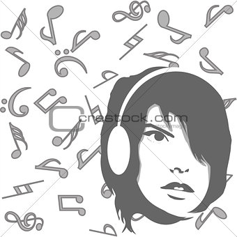 Background with girl listening to music