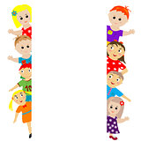 Banner with sylized kids around