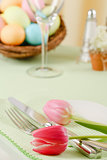 Easter Table Setting With Pink Tulips