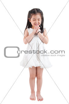 Asian girl making a wish