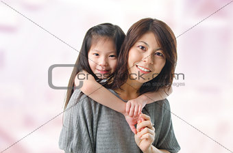 Mother and her five years old daughter