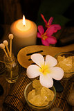 Spa and wellness setting with natural salt