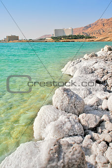 Salty shores on Dead Sea in Israel.