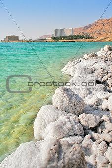 Salty shores on Dead Sea in Israel.