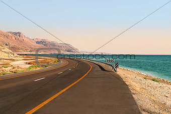 Highway along Dead Sea in Israel.