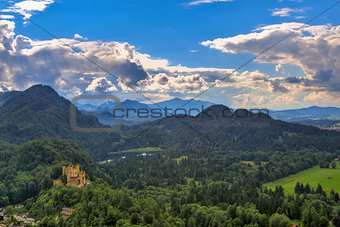 Castle on the hill among mountains in Germany.