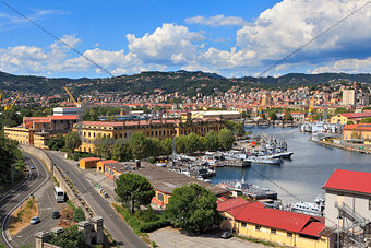 Harbor and city of La Spezia, Italy.