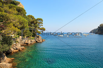 Small bay among cliffs covered with trees in Portofino, Italy.