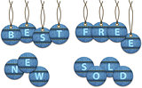 Shopping labels made of jeans. Circle tags
