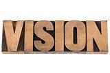 vision word in wood type