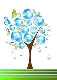 Eco, bio, green and recycle symbols on tree