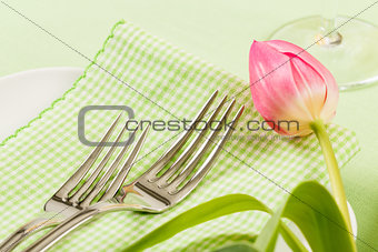 Forks On A Napkin With Pink Tulip