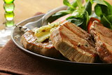 beef steak grilled with fresh salad garnish
