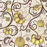 Easter seamless pattern with gold flowers