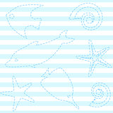 Striped seamless pattern with sea life