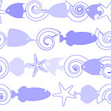 Seamless pattern with sea life on white