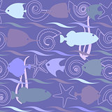 Shells and fish seamless pattern